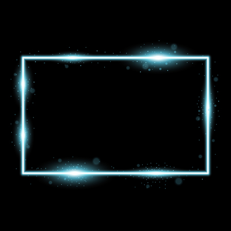 Frame with light effects, laser square with sparks on black background, light effect, aqua color
