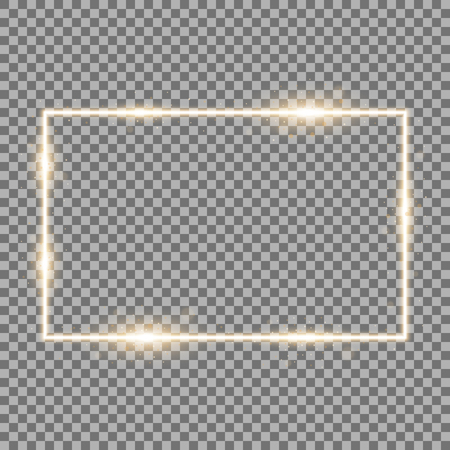 Frame with light effects, laser square with sparks on transparent background, light effect, golden color Stock Illustratie