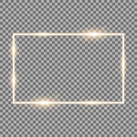 Frame with light effects, laser square with sparks on transparent background, light effect, golden color Illustration