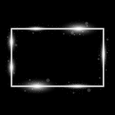 Frame with light effects, laser square with sparks on black background, light effect, white color