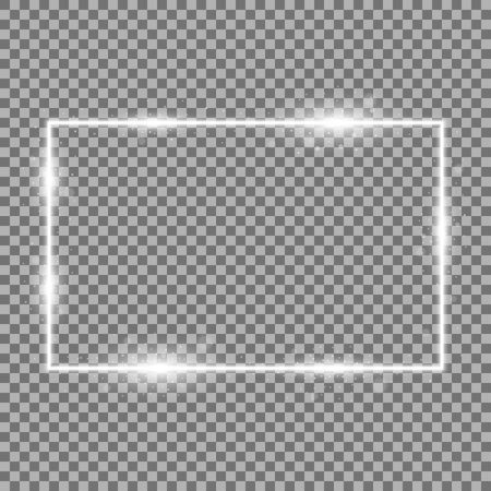 Frame with light effects, laser square with sparks on transparent background, light effect, white color Illustration