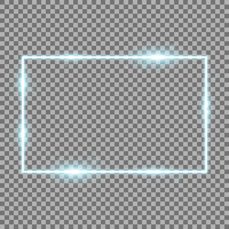 Frame with light effects, laser square with sparks on transparent background, light effect, aqua color Stock Illustratie