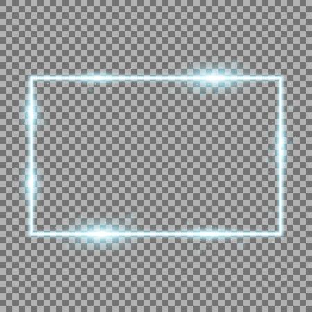 Frame with light effects, laser square with sparks on transparent background, light effect, aqua color Illustration