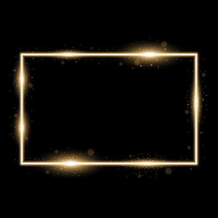 Frame with light effects, laser square with sparks on black background, light effect, golden color
