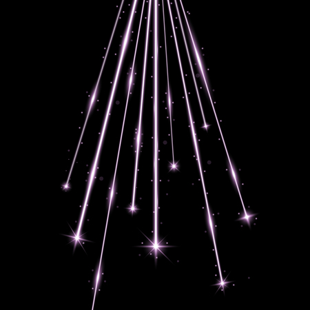 Laser beams with stars and sparks, falling stars with stardust on black background, light effect, purple color