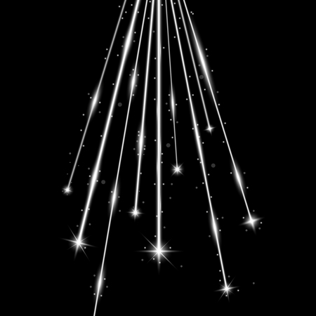 Laser beams with stars and sparks, falling stars with stardust on black background, light effect, white color