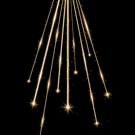 Laser beams with stars and sparks, falling stars with stardust on black background, light effect, golden color