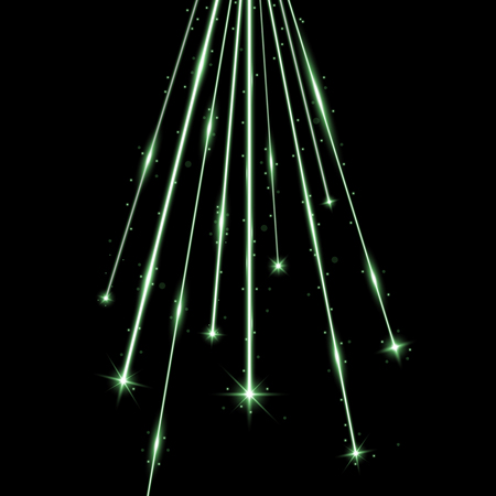 Laser beams with stars and sparks, falling stars with stardust on black background, light effect, green color
