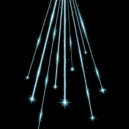 Laser beams with stars and sparks, falling stars with stardust on black background, light effect, aqua color