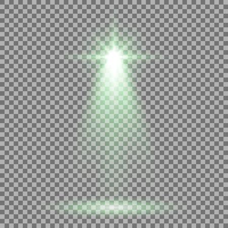 Spotlight glow effect, light beam on transparent background, show spotlight vector, light effect, green color