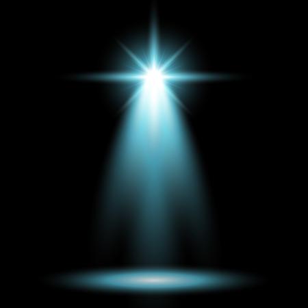 Spotlight glow effect, light beam on black background, show spotlight vector, light effect, aqua color