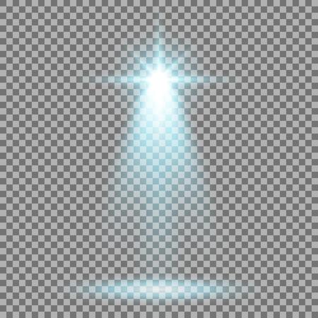 Spotlight glow effect, light beam on transparent background, show spotlight vector, light effect, aqua color