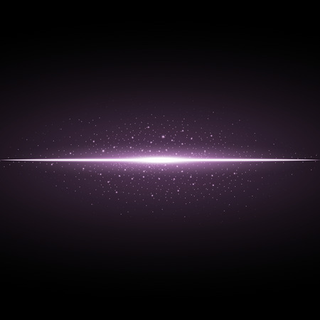 Glowing line with sparks on black background, light effect, purple color