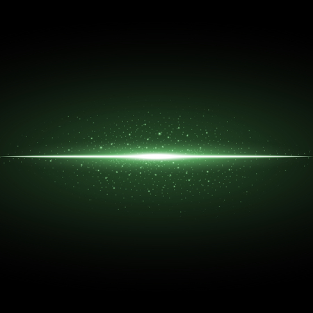 Glowing line with sparks on black background, light effect, green color