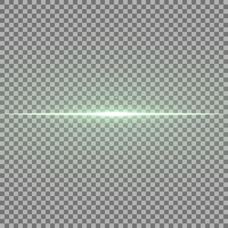 Glowing line with sparks on transparent background, light effect, green color