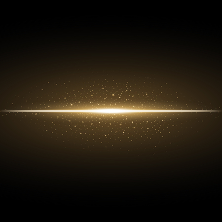 Glowing line with sparks on black background, light effect, golden color