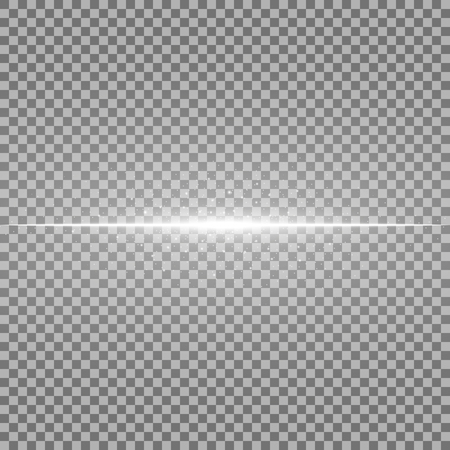 Glowing line with sparks on transparent background, light effect, white color Illustration