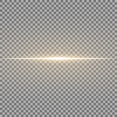 Glowing line with sparks on transparent background, light effect, golden color