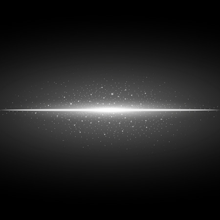 Glowing line with sparks on black background, light effect, white color Illustration