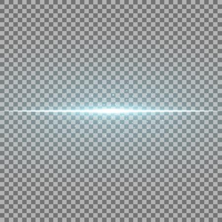 Glowing line with sparks on transparent background, light effect, aqua color Illustration