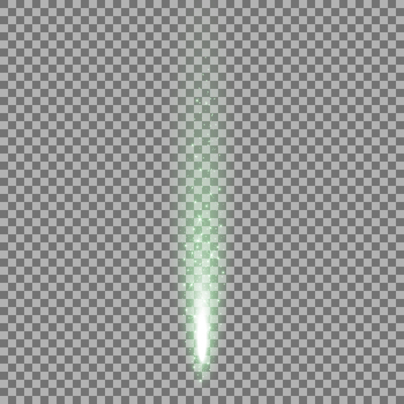 Sparkling stardust, falling particles of light on transparent background, light effect, green color Illustration