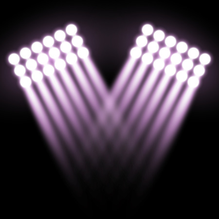 Spotlight glow effect, light beams on black background, show spotlight vector, light effect, purple color