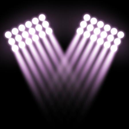Spotlight glow effect, light beams on black background, show spotlight vector, light effect, purple color