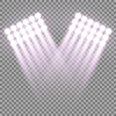 Spotlight glow effect, light beams on transparent background, show spotlight vector, light effect, purple color