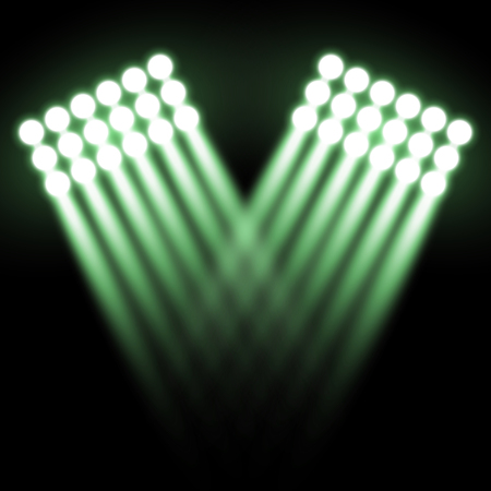 Spotlight glow effect, light beams on black background, show spotlight vector, light effect, green color