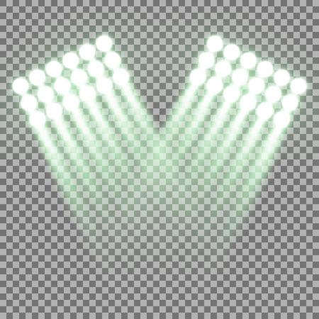 Spotlight glow effect, light beams on transparent background, show spotlight vector, light effect, green color Illustration
