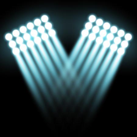 Spotlight glow effect, light beams on black background, show spotlight vector, light effect, aqua color