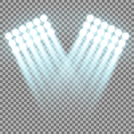 Spotlight glow effect, light beams on transparent background, show spotlight vector, light effect, aqua color