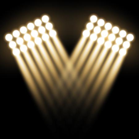 Spotlight glow effect, light beams on black background, show spotlight vector, light effect, golden color