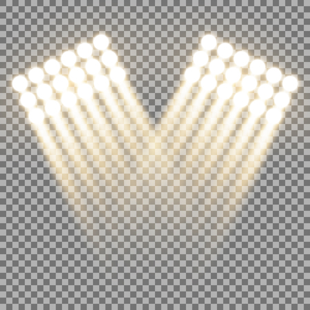 Spotlight glow effect, light beams on transparent background, show spotlight vector, light effect, golden color