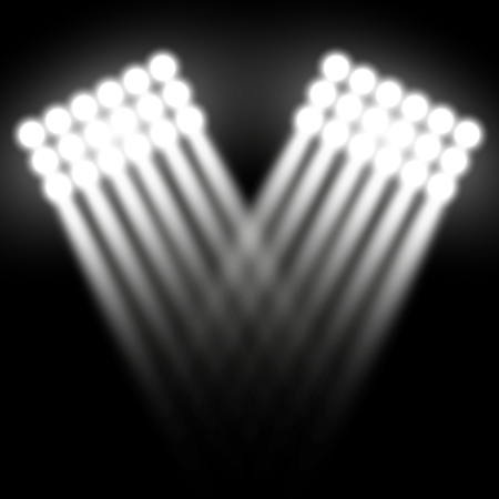 Spotlight glow effect, light beams on black background, show spotlight vector, light effect, white color