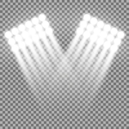 Spotlight glow effect, light beams on transparent background, show spotlight vector, light effect, white color