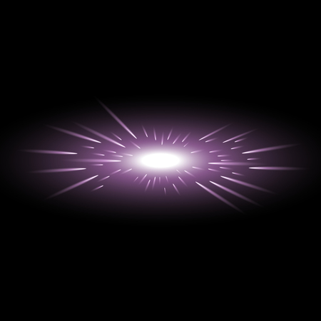Glowing light with flying comets, star burst with sparkles on black background, light effect, purple color
