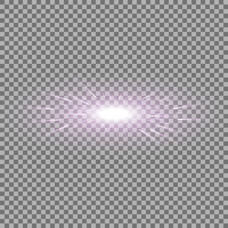 Glowing light with flying comets, star burst with sparkles on transparent background, light effect, purple color Illustration