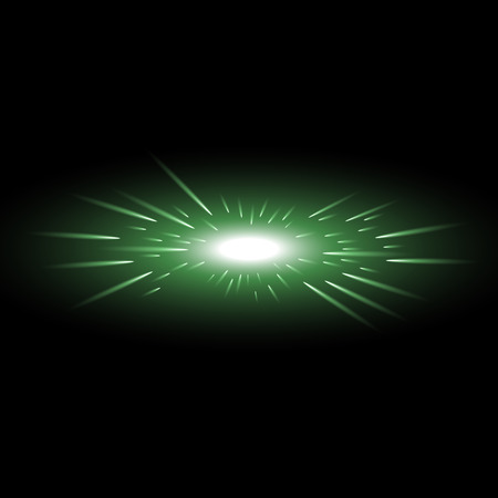 Glowing light with flying comets, star burst with sparkles on black background, light effect, green color