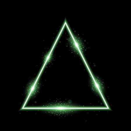 Triangle with lights and sparkles on black background, light effects, green color