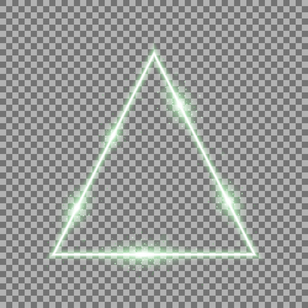 Triangle with lights and sparkles on transparent background, light effects, green color