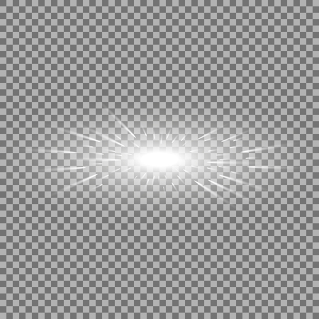 Glowing light with flying comets, star burst with sparkles on transparent background, light effect, white color