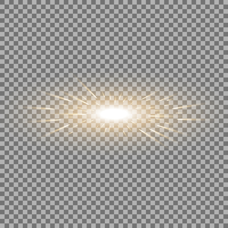 Glowing light with flying comets, star burst with sparkles on transparent background, light effect, golden color Stock Illustratie