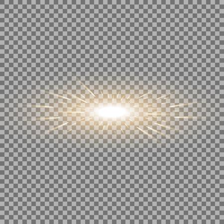 Glowing light with flying comets, star burst with sparkles on transparent background, light effect, golden color Illustration