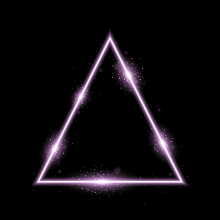 Triangle with lights and sparkles on black background, light effects, purple color Illustration