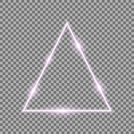 Triangle with lights and sparkles on transparent background, light effects, purple color