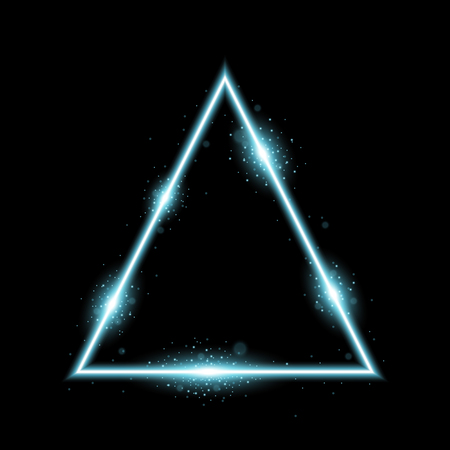 Triangle with lights and sparkles on black background, light effects, aqua color