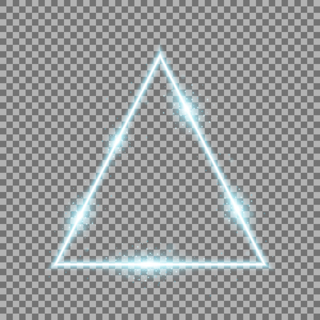 Triangle with lights and sparkles on transparent background, light effects, aqua color