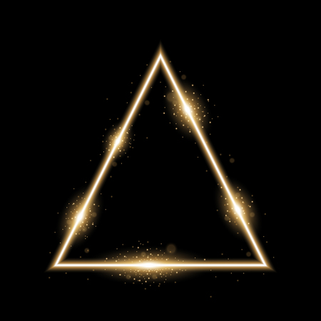 Triangle with lights and sparkles on black background, light effects, golden color