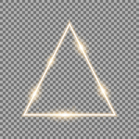 Triangle with lights and sparkles on transparent background, light effects, golden color